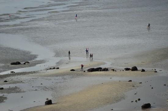 Es war gerade Ebbe und ganz viele Leute spazierten am Strand entlang