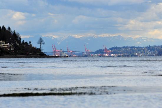 Hafen von Seattle vom Strand aus
